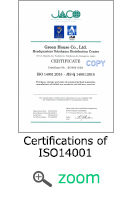 Certifications of ISO 14001